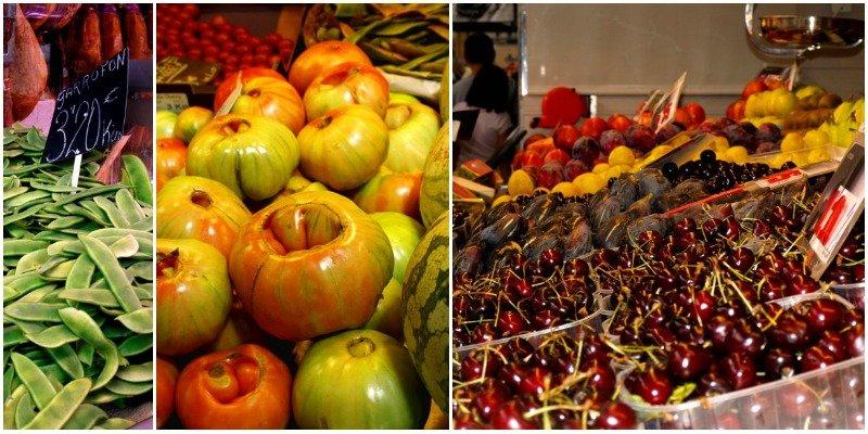 collage frutta e verdura valencia mercat central valencia