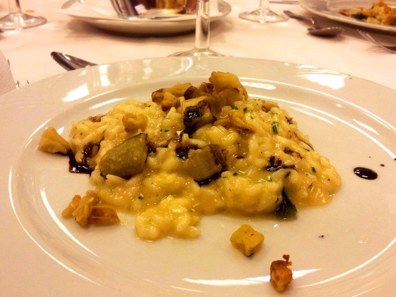 risotto alla parmigiana con melanzane e aceto balsamico