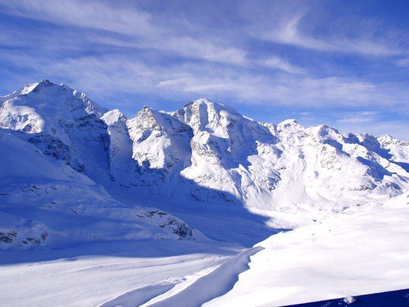 Trenino del Bernina panoramda dal Diavolezza