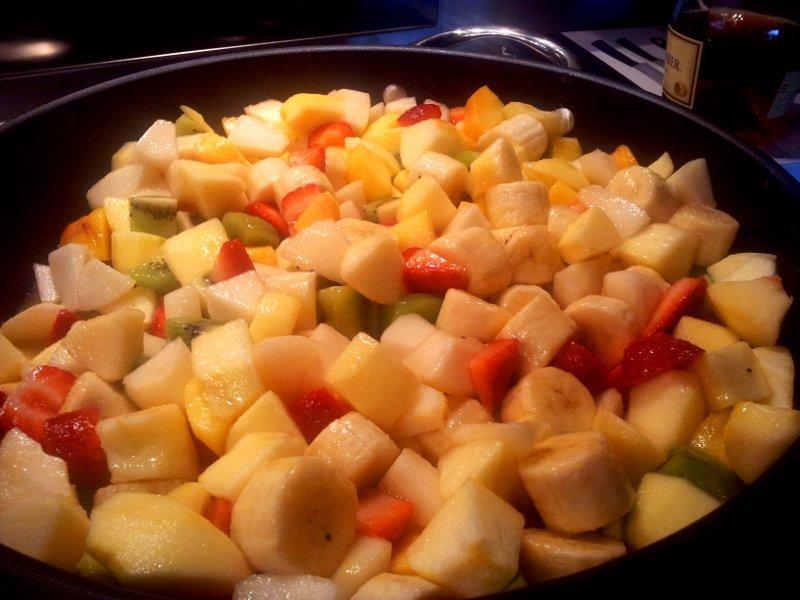frutta per macedonia calda con zabaione