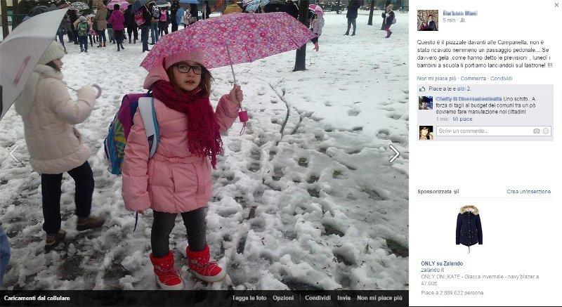 e-part neve davanti alla scuola